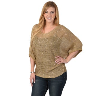 Timeless Comfort by Journee Women's Contemporary Plus Dolman Sleeve Sequined Sweater