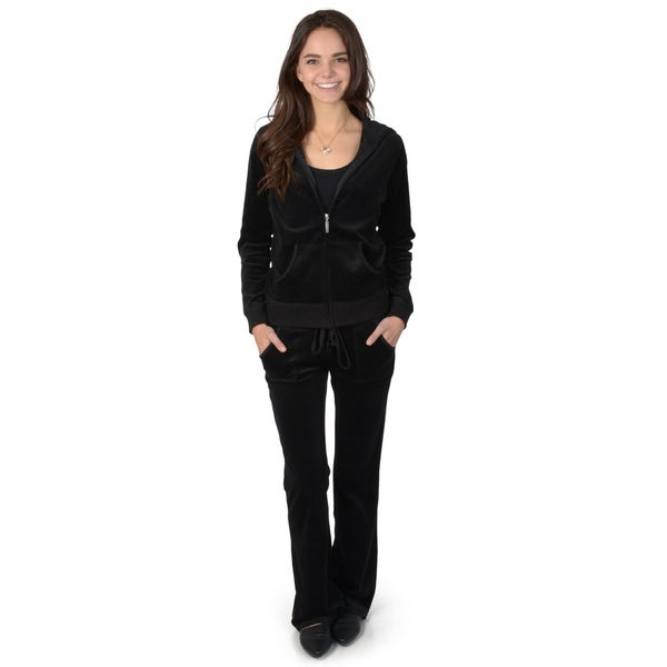 Hailey Jeans Co. Junior's Black Velour Zip-up Hooded Drawstring 2-piece Lounge Set
