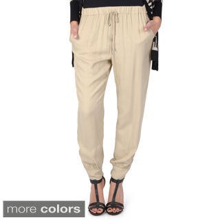 Hailey Jeans Co. Junior's Drawstring Waist Zipper Detail Jogger Pants