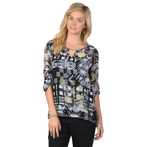 Journee Collection Women's Black Roll-tab Sleeve Floral Geometric Chiffon Blouse