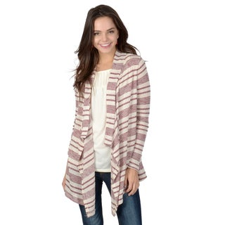 Hailey Jeans Co. Junior's Long Sleeve Striped Waterfall Cardigan