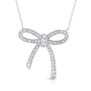 Eloquence 14k White Gold 1/2ct TDW Bow Shaped Diamond Necklace (H-I, I1-I2)