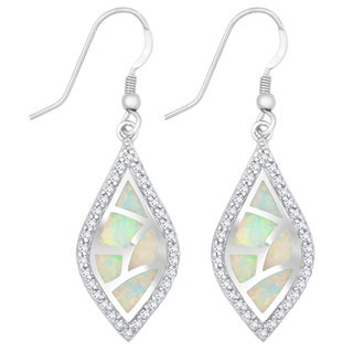 La Preciosa Sterling Silver White Opal and Cubic Zirconia Marquise Earrings