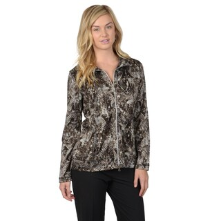 Journee Collection Women's Print Comfort Zip-Up Jacket