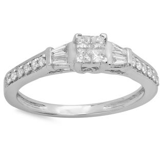 14k White Gold 1/2ct TDW Multi-cut Diamond Engagement Ring (H-I, I1-I2)
