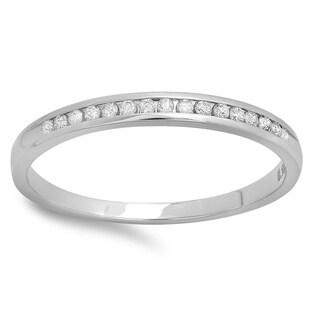14k White Gold 1/10ct TDW Round-cut Diamond Stackable Wedding Ring (I-J, I2-I3)