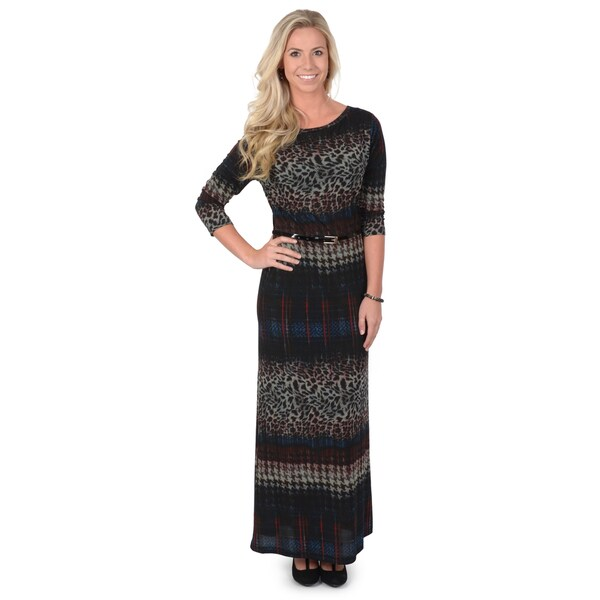 Sharagano Women's Crew Neck Three-Quarter Sleeve Mixed Print Maxi Dress