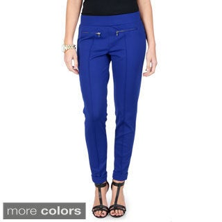 Journee Collection Women's Zipper Detail Knit Ponte Pants