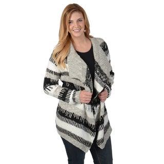 Timeless Comfort by Journee Women's Contemporary Plus Asymmetrical Open Front Sweater Cardigan