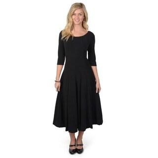 Sangria Women's Three-Quarter Sleeve Knit A-line Midi Dress