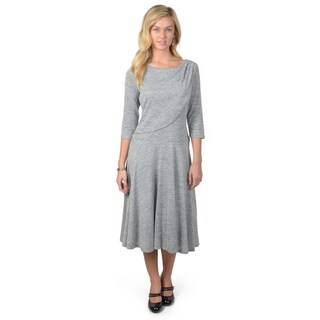Sangria Women's Three-Quarter Sleeve Heather Grey Fit and Flare Dress