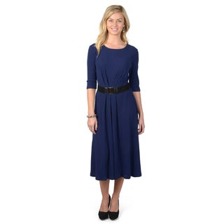 Sangria Women's Crew Neck Three Quarter Sleeve A-line Belted Knit Dress