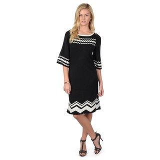 Sangria Women's Crew Neck Chevron Print Fit and Flare Sweater Dress