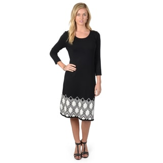 Sangria Women's Scoop Neck Three-Quarter Sleeve Fit and Flare Sweater Dress