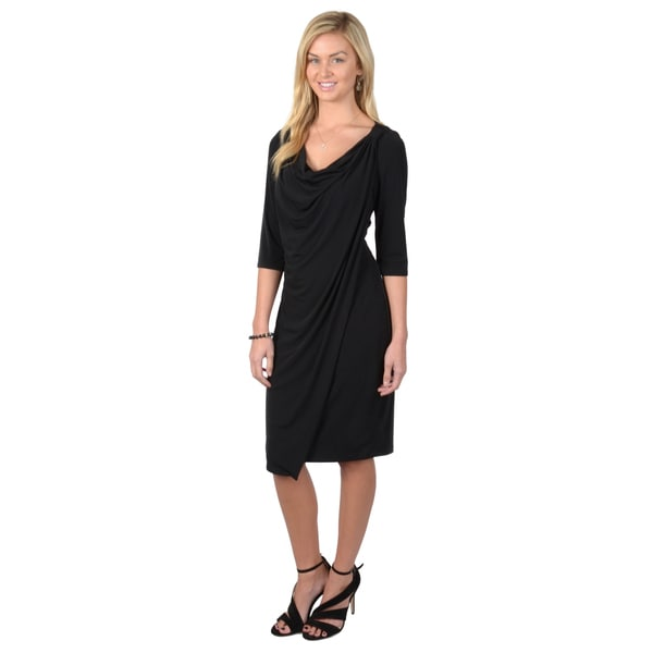 Sangria Women's Drape Cowl Neck Three-Quarter Sleeve Dress