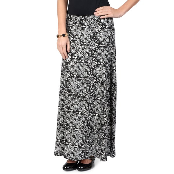 Journee Collection Women's Black and White Print Maxi Skirt