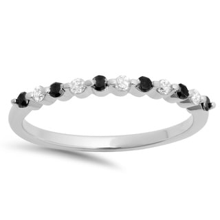 10k White Gold 1/4ct TDW Black and White Diamond Stackable Wedding Band (I-J, I2-I3)