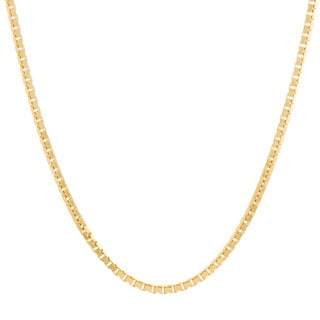 Sterling Essentials 14k Yellow Gold over Silver Venetian Box Chain