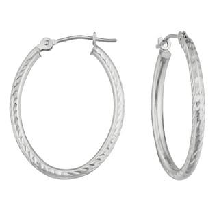 14k White Gold Oval Diamond-cut Hoop Earrings