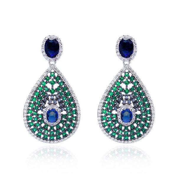 Blue Box Jewels Sterling Silver Multi-color Cubic Zirconia Earrings