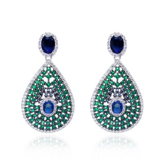Blue Box Jewels Sterling Silver Multi-color Cubic Zirconia Earrings