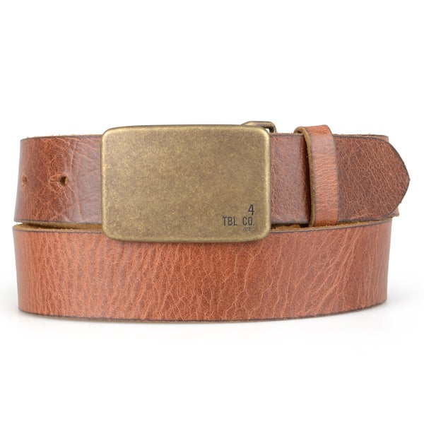 Timberland Men's Genuine Leather Plaque Buckle Belt