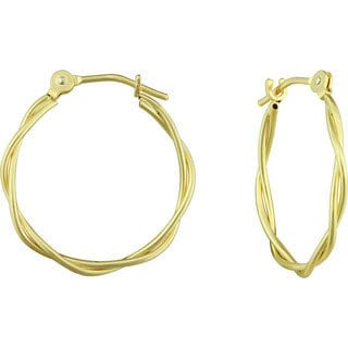 14k Yellow Gold Double Row Hoop Earrings