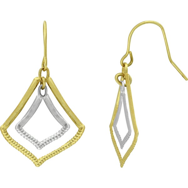 14k Two-tone Double Marquise Drop Earrings