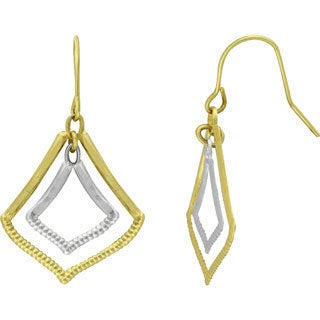 14k Two-tone Double Marquise Drop Earrings