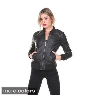 Stanzino Women's Slim Fit PU Leather Jacket