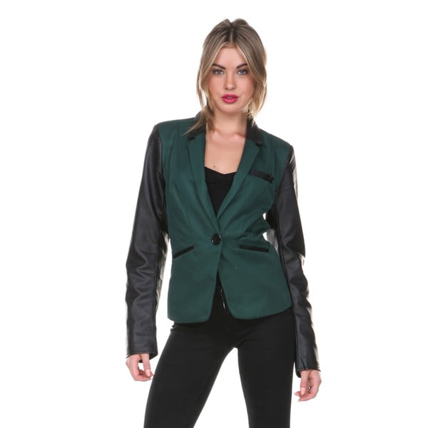 Stanzino Women's Slim Fit Olive and Leatherette Blazer