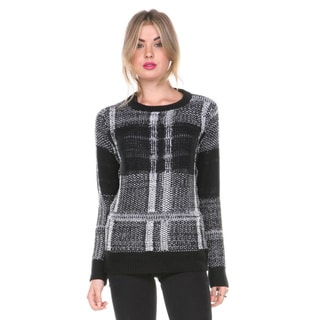 Stanzino Women's Black and White Check Chunky Knit Sweater