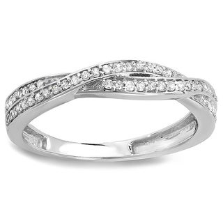 10k White Gold 1/4ct TDW Round Diamond Anniversary Wedding Band Swirl Matching Ring (H-I, I1-I2)