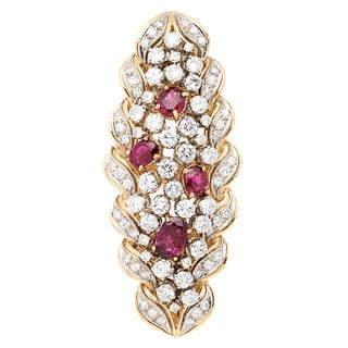 18K Yellow Gold 4ct TDW Diamond and Red Ruby Estate Cocktail Ring (H-I, VS1-VS2)