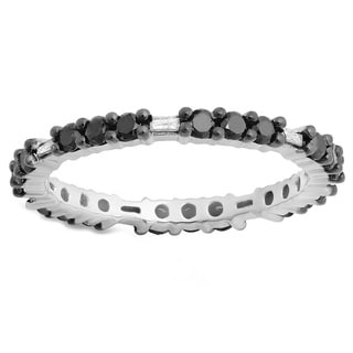 Sterling Silver 4/5ct TDW Round and Baguette Black and White Diamond Eternity Band (I-J, I2-I3)