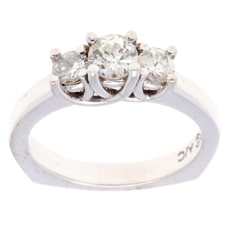 Pre-owned 14k White Gold 1 1/5ct TDW Three-stone Diamond Estate Ring (G-H, SI3)