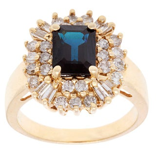 Pre-owned 14k Yellow Gold 1ct TDW Diamond Sapphire Estate Cocktail Ring (I-J, SI1-SI2)