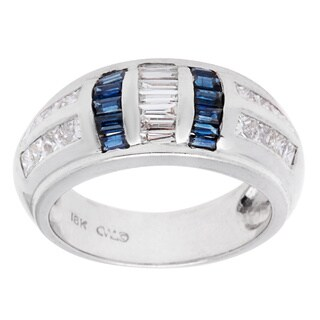 Pre-owned 18k White Gold 1 1/5ct TDW Sapphire and Diamond Estate Band Ring (G-H, VS1-VS2)