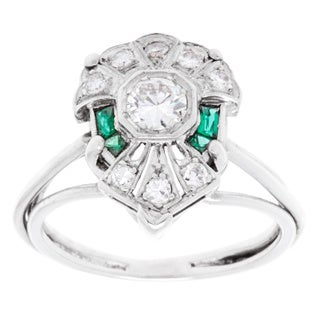 Pre-owned 14k White Gold and Platinum 1/2ct TDW Diamonds and Emerald Estate Ring (H-I, SI1-SI2)