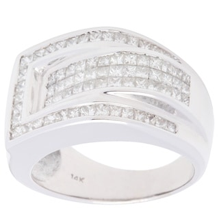 Pre-owned 14k White Gold 2ct TDW Belt Buckle Estate Ring (H-I, SI1-SI2)