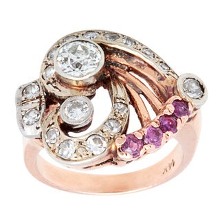 Pre-owned 14k Rose Gold 1 1/5ct TDW Deco Cocktail Ring (I-J, SI1-SI2)