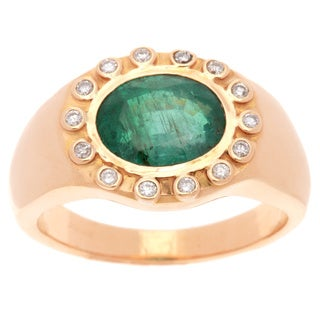 Pre-owned 22K Yellow Gold 1/4ct TDW Diamond Jumbo Size Estate Emerald Cocktail Ring (I-J, SI1-SI2)