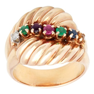 Pre-owned 14k Yellow Gold Multi-color Topaz Estate Ring