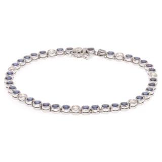 Pre-owned 18k White Gold 4/5ct TDW Diamond Sapphire Estate Tennis Bracelet (G-H, VS1-VS2)