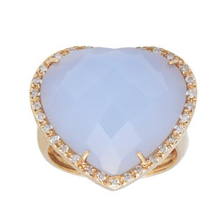 Pre-owned 14k Yellow Gold 1/2ct TDW Diamond and Chalcedony Estate Ring (H-I, SI1-SI2)