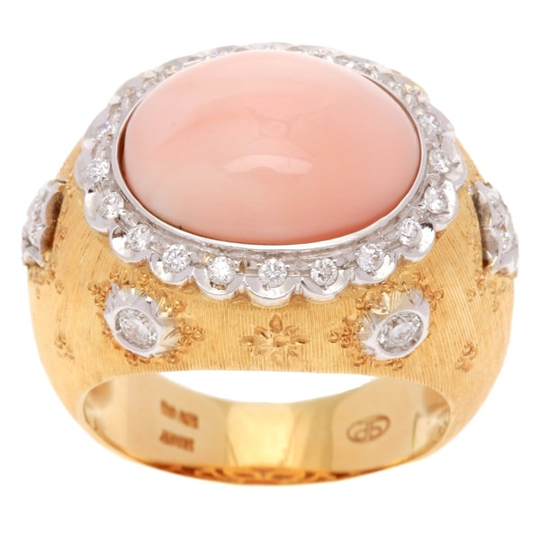 Pre-owned 18k Yellow Gold 3/4ct TDW Diamond Coral Estate Ring (G-H, SI1-SI2)
