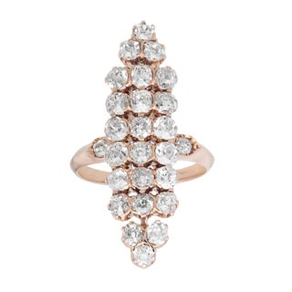 Pre-owned 18k Rose Gold 2 1/2ct TDW Clustered Old Mine-cut Diamonds Cocktail Ring (H-I, SI1-SI2)