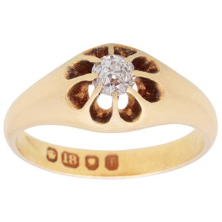 Pre-owned 18k Yellow Gold 2/5ct TDW Late 1800's Antique English Engagement Ring (H-I, SI1-SI2)