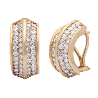 Pre-owned 18k Yellow Gold 3ct TDW Diamond Clip Estate Earrings (G-H, VS1-VS2)
