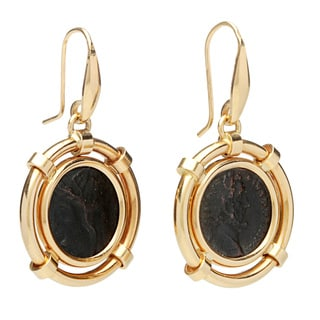 Pre-owned 18K Yellow Gold Antique Ancient Coin Dangle Earrings